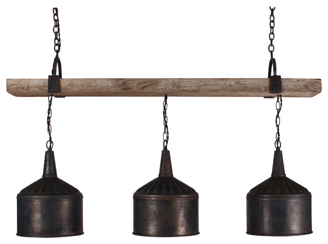 3 Funnel Chandelier with Barnwood Beam and Iron Brackets