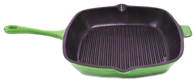 """Neo 11"""" Cast Iron Grill Pan Green."""