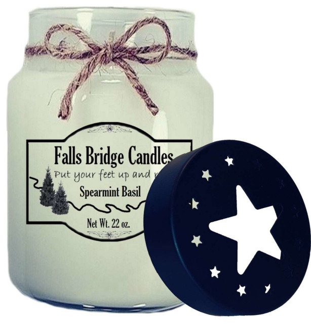 Spearmint and Basil  Scented Jar Candle, 26 oz, Star Lid