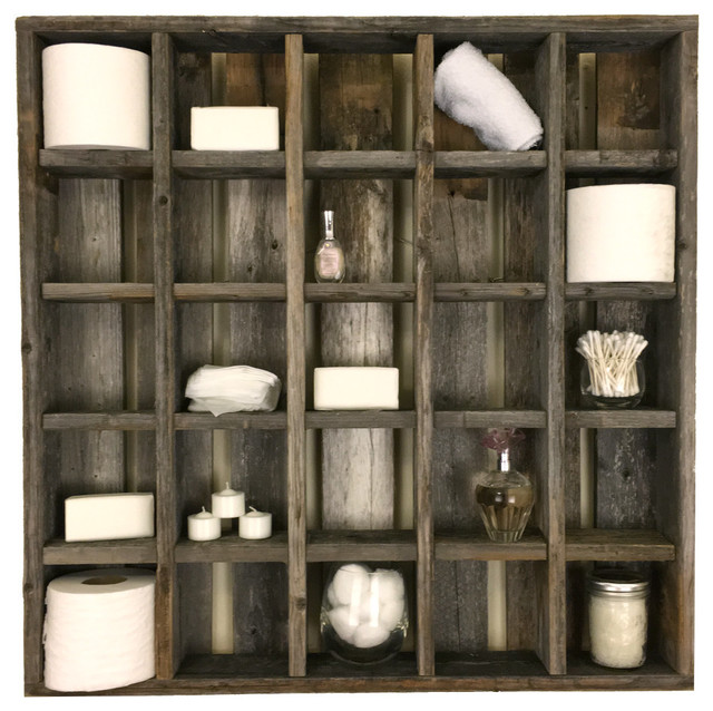 Elegant Large 25 Cubbyhole Reclaimed Wood Wall Cubby