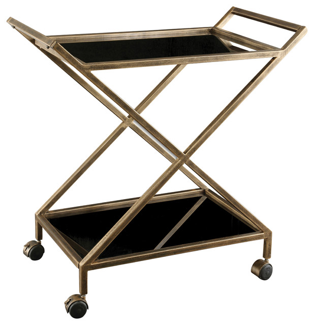 Contemporary Gold Black Serving Cart by Uttermost