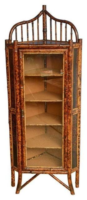Charmant Beautiful 19th C. Bamboo Corner Cabinet