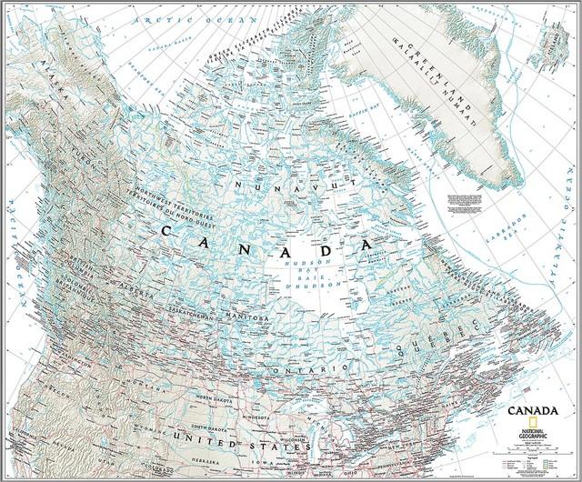 Classic Canada Map Wall Mural Self Adhesive Wallpaper