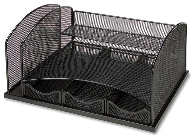 Mesh desktop organizer 15 3 contemporary desk - Modern desk accessories and organizers ...