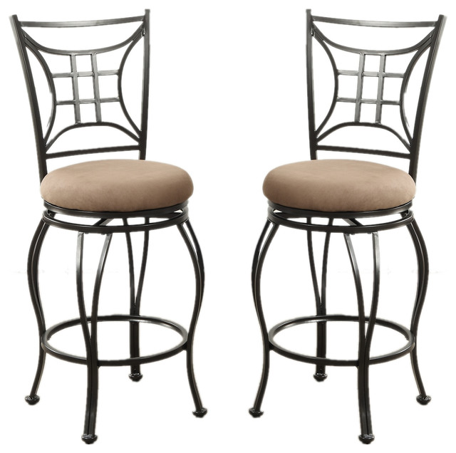 Amazing Metal Swivel Stools With Microfiber Upholstered Seat Set Of 2 Counter Height Unemploymentrelief Wooden Chair Designs For Living Room Unemploymentrelieforg