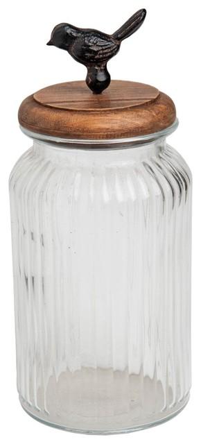 Tall Glass Container With Bird Lid Kitchen Storage Jar