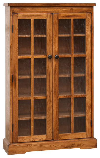 ... CD DVD Media Storage Cabinet, Rustic Oak traditional-media-cabinets
