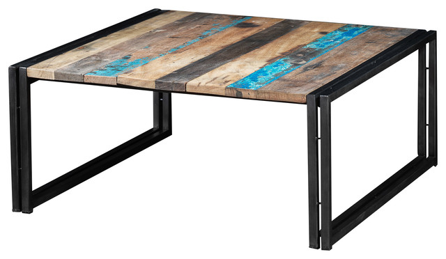 industrial coffee table made of recycled boat wood and black metal