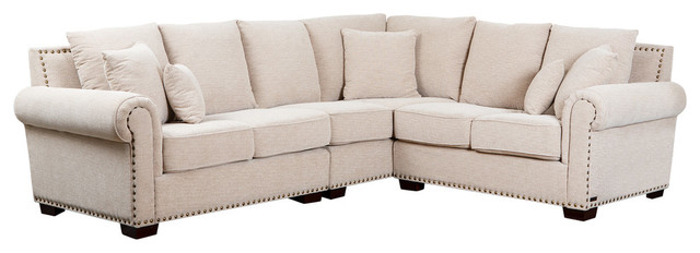 Swell Abbyson Living Leonard Fabric Sectional Cream Caraccident5 Cool Chair Designs And Ideas Caraccident5Info