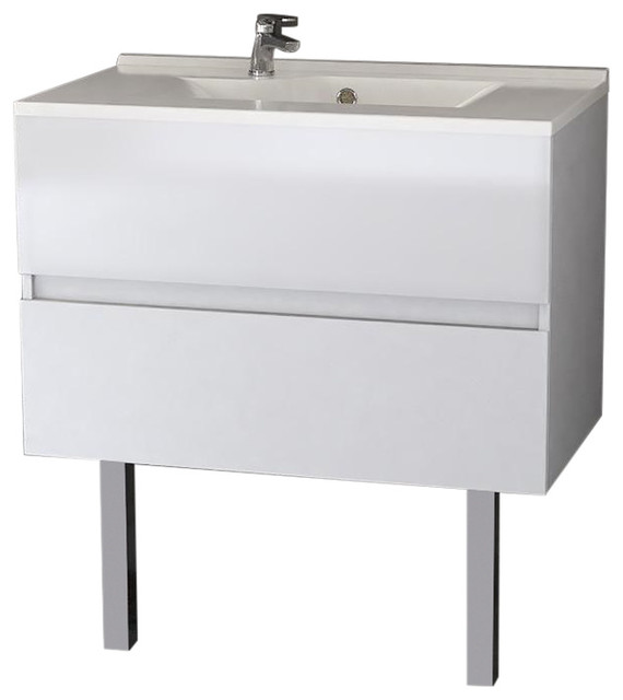 Rosaly Bathroom Vanity Unit, 80 cm, White With Legs