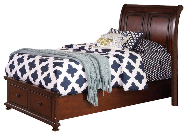 New Classic Youth Jesse Twin Sleigh Storage Bed, Cherry Brown.