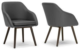 Adaya Gray PU Leather Armchairs With Beech Legs, Set of 2