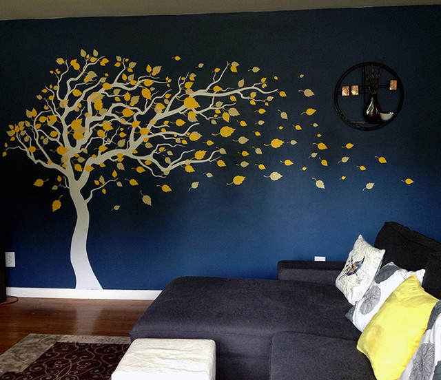 Tree Ing In The Wind Wall Decal Yellow Celadon White