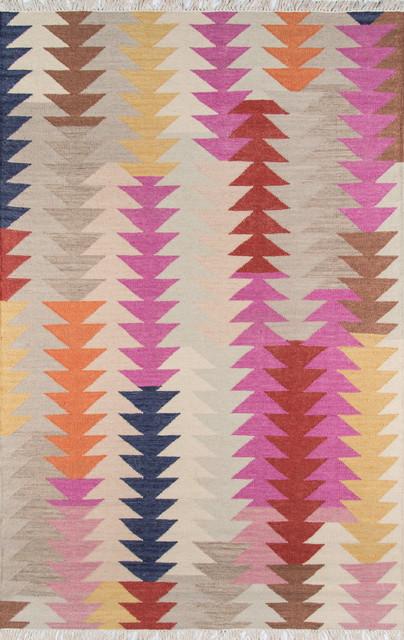 "Taos Handwoven Reversible Rug, Multicolor, 5&x27;x7&x27;6""."