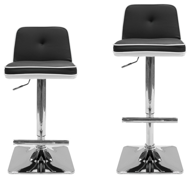 All Modern Duo Color Swivel Bar Stools Set Of 2 Black