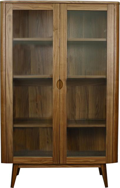 Milano Glass Door Cabinet, Walnut.