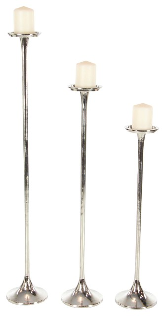Traditional Processional-Inspired Aluminum Candle Holders, 3-Piece Set, Silver