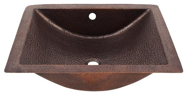Solid Hand Hammered Copper Concave Undermount Lavatory Sink, Antique Copper.