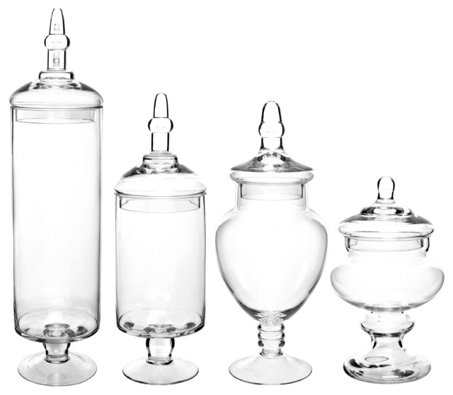 Popular Large Glass Lid Apothecary Jars / Candy Containers , Set of 4  PW05