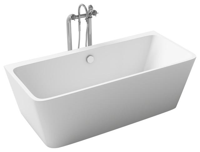 "Aalborg White Acrylic Rectangular Freestanding Bathtub 67"" L."