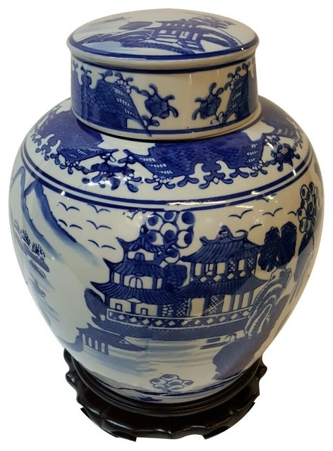 Oriental Furnishings Chinese 9 Quot Ginger Jar Export Blue