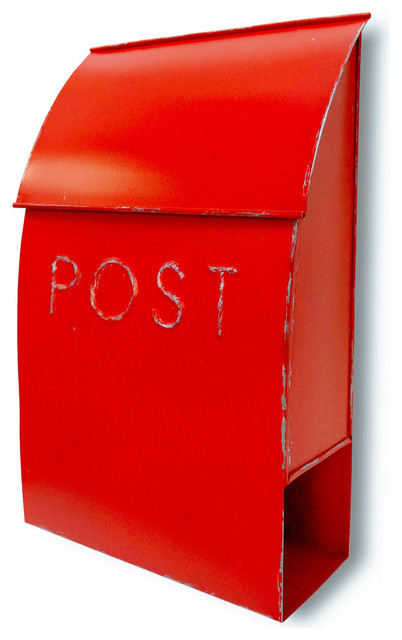 nach milano pointed wall mounted mailbox post red