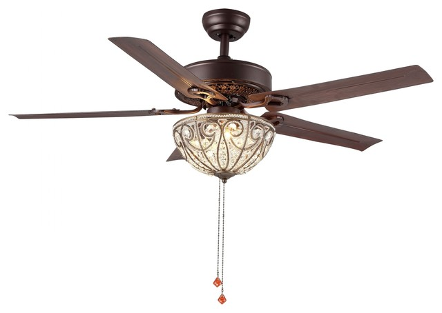 "48"" Transitional Crystal Led Ceiling Fan With Remote, 5 Reversible Blades."