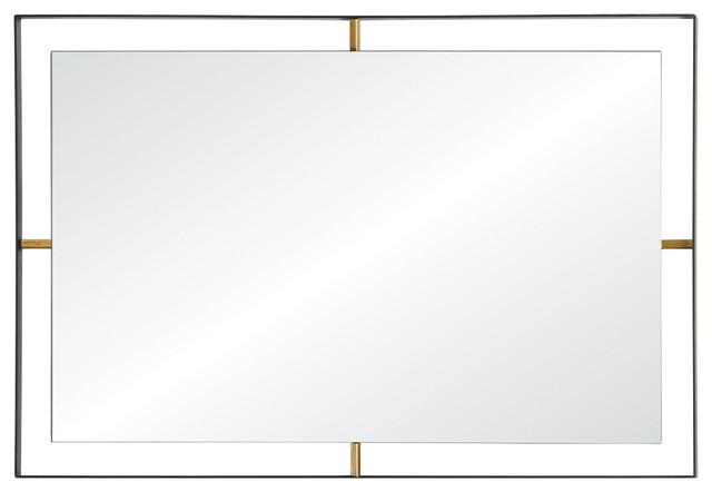 Framed 20 X 30 Rectangular Wall Mirror, Matte Black Finish.