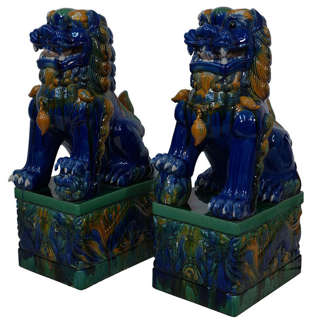 Consigned Antique Chinese Colored Glaze Ceramic Foo Dogs, 2 Piece Set