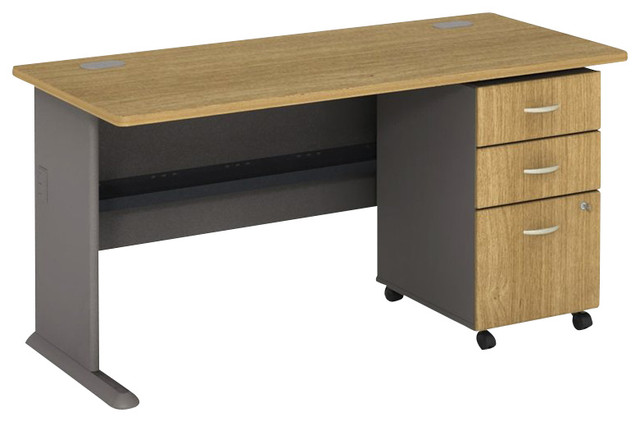 Bush Series A 60 Computer Desk With 3 Drawer File Cabinet In Light Oak