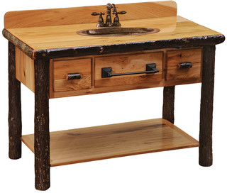 Hickory Freestanding Open Vanity, Shelf, Two Drawers, Slab Style Top, Espresso - Kitchen ...