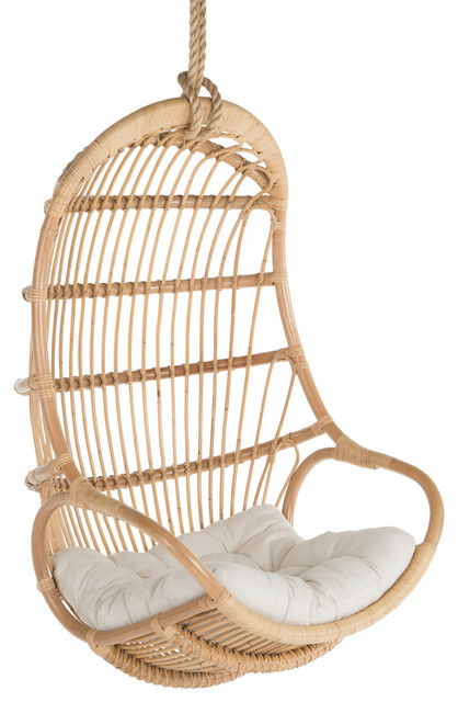 Hanging Rattan Swing Chair With Seat Cushion Tropical
