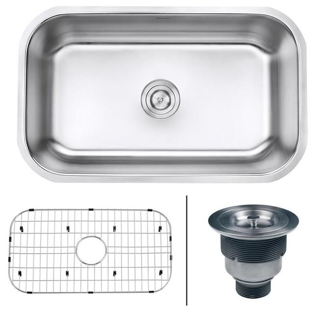 """Rvm4250 Undermount 16 Gauge 30"""" Kitchen Sink, Single Bowl."""