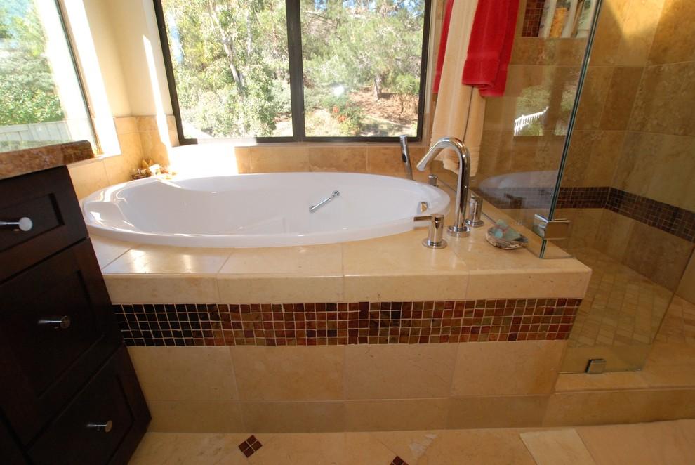 Onyx Countertops & Glass Vessel Sinks With Glass Tile Border & Pinwheel Floor