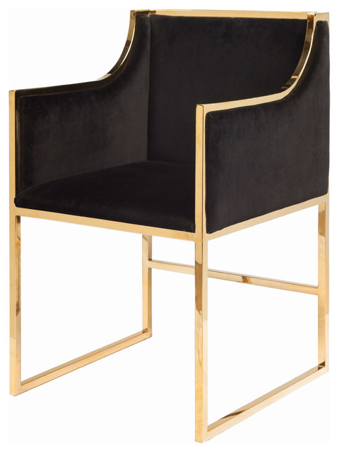 anastasia hollywood regency black velvet brass frame dining chair modern