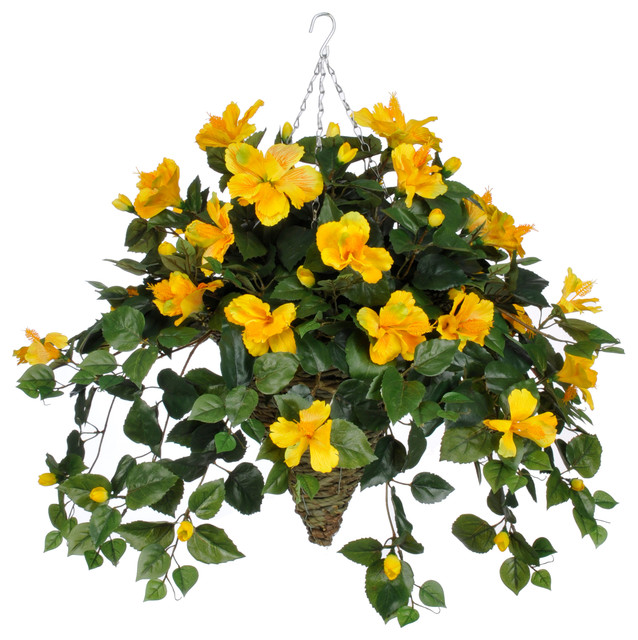 artificial yellow hibiscus in cone hanging basket transitional artificial flower arrangements - Picture Hanging Arrangements