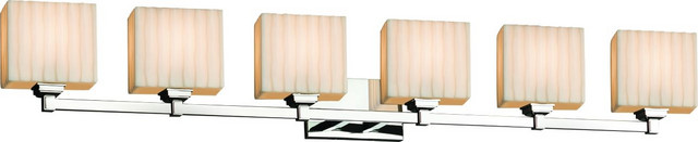 Porcelina - Regency Bath Bar - Polished Chrome, Faux Porcelain Resin Waterfall R