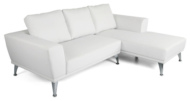 Ava Modern Faux Leather Chaise Sectional