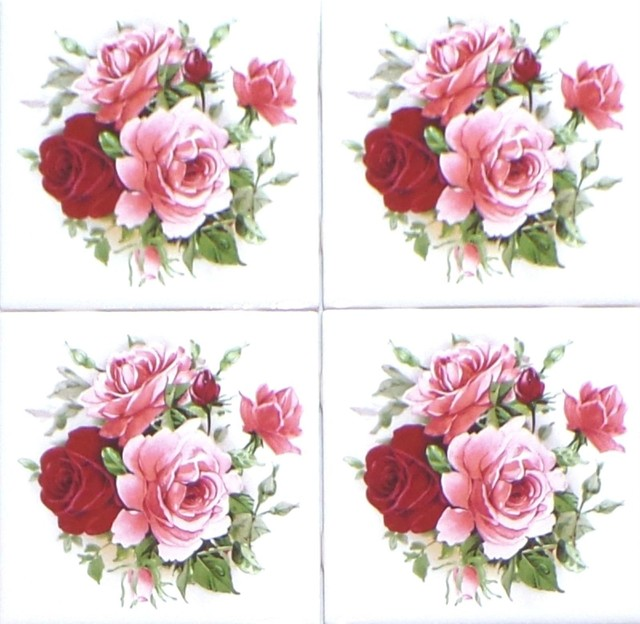 Rose Flower Bouquet Kiln Fired Ceramic Tile Backsplash, Set of 4 ...