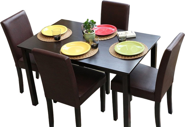 Espresso leather brown 4 person table and chairs brown for 4 person dining table set