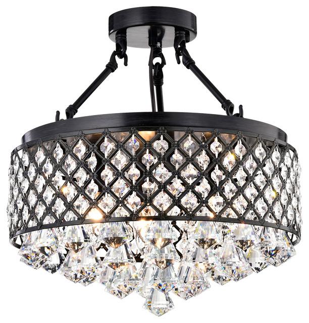 Mina Crystal Semi-Flush Mount contemporary-flush-mount-ceiling-lighting - Mina Crystal Semi-Flush Mount - Contemporary - Flush-mount Ceiling