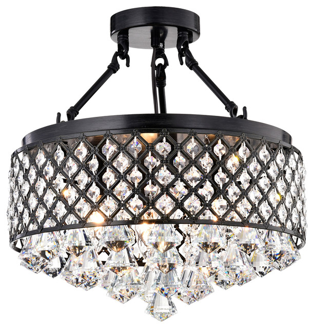 4 Light Antique Black Semi Flush Mount Beaded Drum Crystal Chandelier Glam