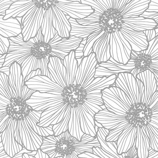 Vivienne Silver Floral Wallpaper Bolt.