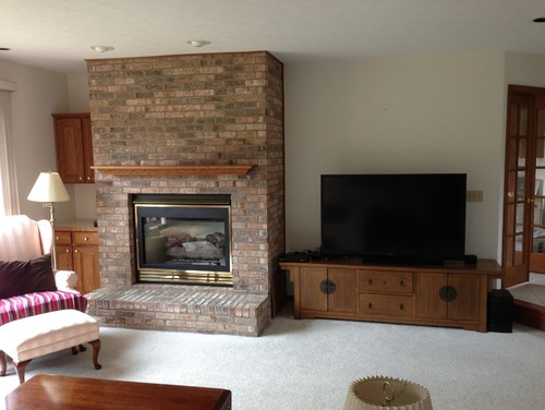 Off center large fireplace and tv placement issues for House plans with fireplace in center of house