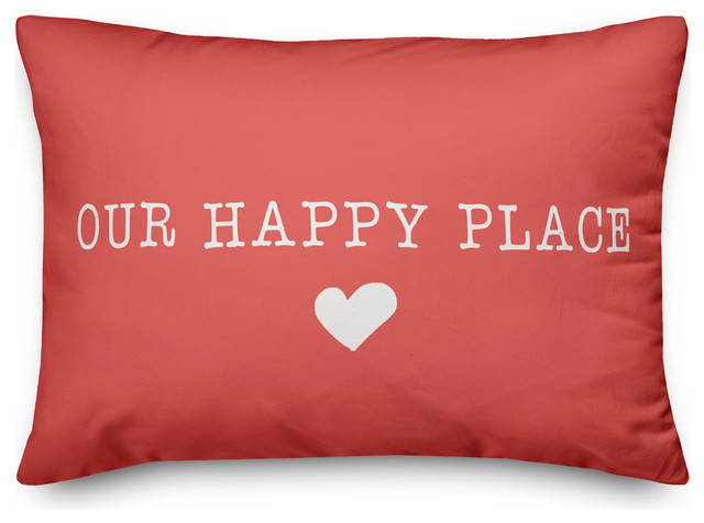 Our Happy Place Outdoor Lumbar Pillow Contemporary Outdoor Cushions And Pillows By Designs Direct