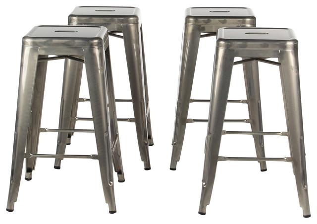 Gun Metal Industrial 26 Counter Stool Set Of 4 Industrial Bar