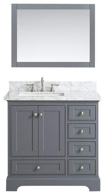 Jocelyn Bathroom Sink Vanity Set White Marble Top Base Charcoal 36