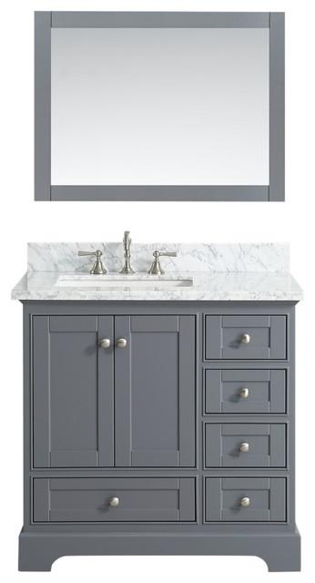 Jocelyn Bathroom Sink Vanity Set  White Marble Top  Charcoal  36   contemporary. Jocelyn Bathroom Sink Vanity Set  White Marble Top   Contemporary
