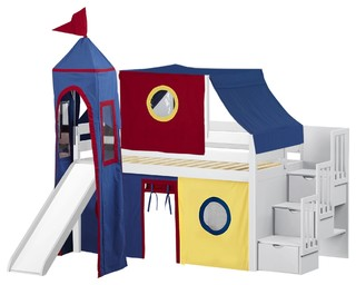 Jackpot Castle Twin Low Loft White Stairway Bed, Red and Blue Tent With Slide