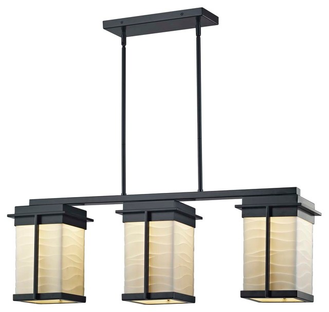 Matte Black Finish Faux Porcelain Shade with Waves Design Pacific Small LED Outdoor Wall Sconce Porcelina